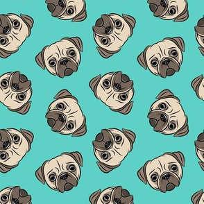 Pugs on teal - pug cute dog face