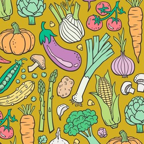 Vegetables Food Doodle on Mustard Yellow