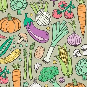 Vegetables Food Doodle on Light Olive Green