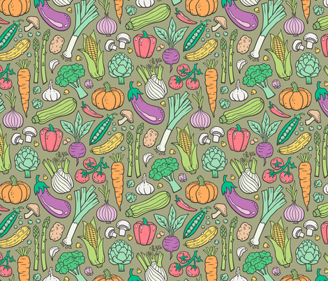 Vegetables Food Doodle on Olive Green fabric by caja_design on Spoonflower - custom fabric