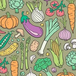 Vegetables Food Doodle on Olive Green