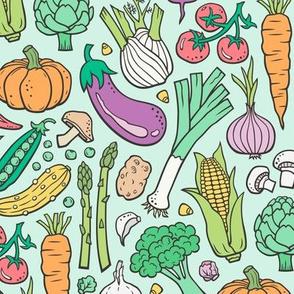 Vegetables Food Doodle on Mint Green