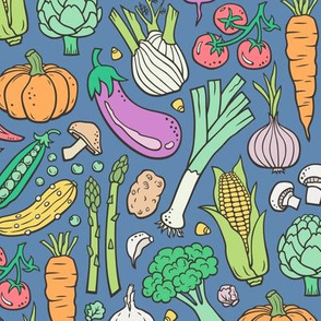 Vegetables Food Doodle on Dark Blue Navy