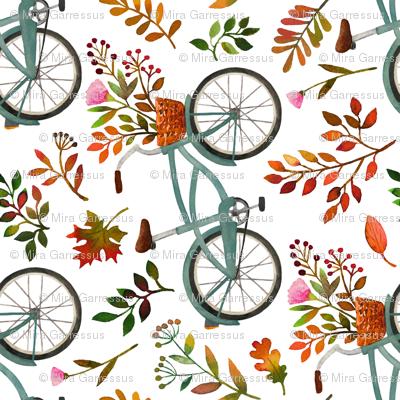 autumn bike ride - white, large, 90 degree rotated