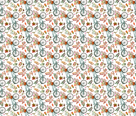 autumn bike ride - white, large, 90 degree rotated fabric by mirabelleprint on Spoonflower - custom fabric
