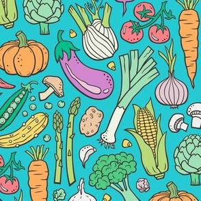 Vegetables Food Doodle on Blue