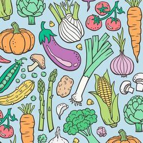 Vegetables Food Doodle on Light Blue