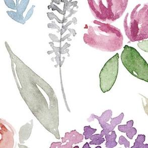 Portia Watercolour Floral on white LARGE