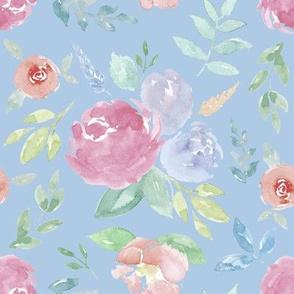Rosie Watercolour Floral on Blue Medium