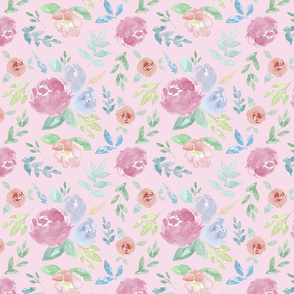 Rosie Watercolour Floral on Pink Medium