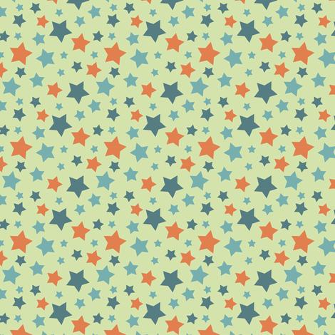 MellowStars - blue and orange fabric by matroshkadesign on Spoonflower - custom fabric