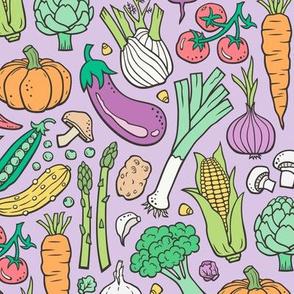Vegetables Food Doodle on Light Lilac purple