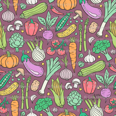 Vegetables Food Doodle on Mauve