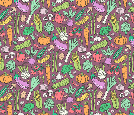 Vegetables Food Doodle on Mauve fabric by caja_design on Spoonflower - custom fabric