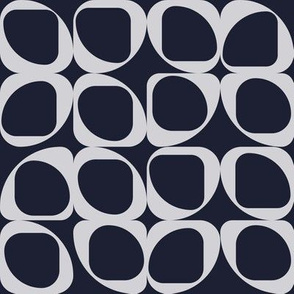 Geometric Pattern III - Navy and Light Grey