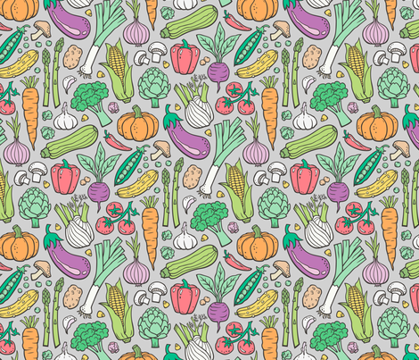 Vegetables Food Doodle on Light Grey fabric by caja_design on Spoonflower - custom fabric