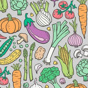 Vegetables Food Doodle on Light Grey