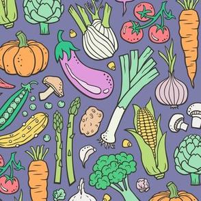Vegetables Food Doodle on Dark Purple Violet