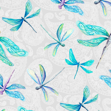 Dragonflies On Paisley - Medium fabric by gingerlique on Spoonflower - custom fabric