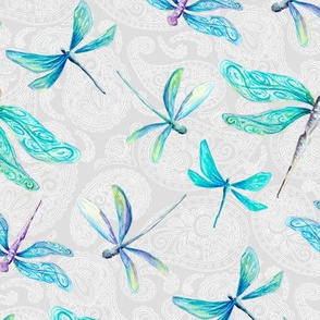 Dragonflies On Paisley - Medium