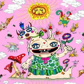 little baby girl she-beast and friends pink, large scale