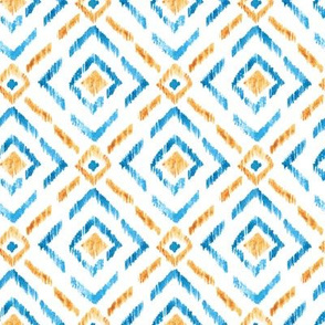 Watercolor blue and yellow ikat