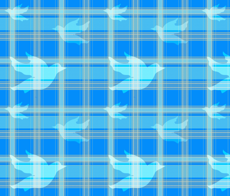 Doves In Blue Plaid fabric by notbrownplaid on Spoonflower - custom fabric