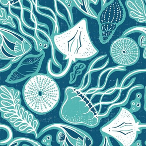 Sea Life - Navy Blue & Aqua