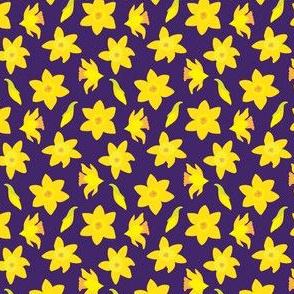 Daffodil Dots on Dark Blue