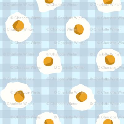 eggs breakfast food fabric blue check