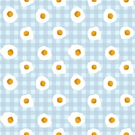 eggs breakfast food fabric blue check fabric by charlottewinter on Spoonflower - custom fabric