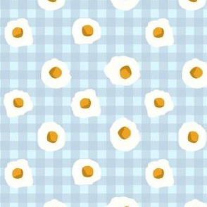 eggs breakfast food fabric blue check