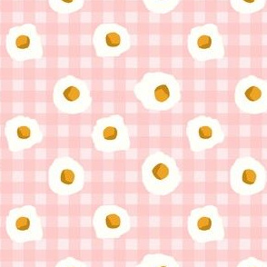 eggs breakfast food fabric pink