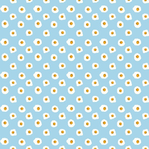eggs breakfast food fabric light blue