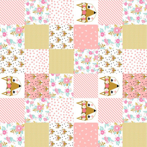fox florals (3 inch squares)  patchwork cheater quilt fox fabric floral fabric cute flower pink flowers cute pink fabric
