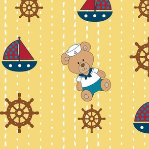 Nautical bear and boats, red, blue, brown and white.