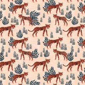 safari tiger (small scale) // blush coral tiger girls room nursery decor little girls fabric