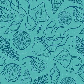 Sea Life - Aqua Navy Outline