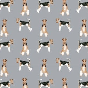 wire fox terrier (small scale) simple dog breed fabric grey