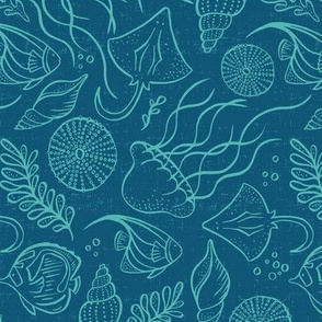 Sea Life - Blue Aqua Outline