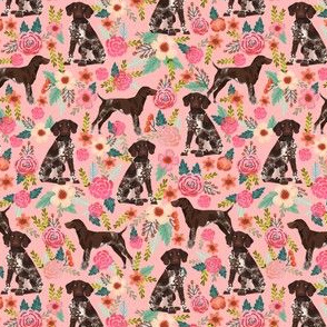german shorthaired pointer (small scale) floral pink dogs fabric cute floral design for pointer owners