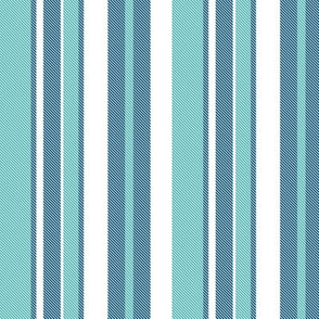 Beach House Stripe - Navy Aqua White