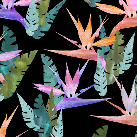 birdie tropical black fabric by schatzibrown on Spoonflower - custom fabric