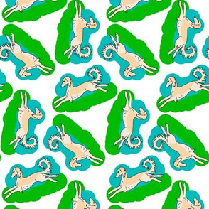 1950s style Saluki on Blue and Green