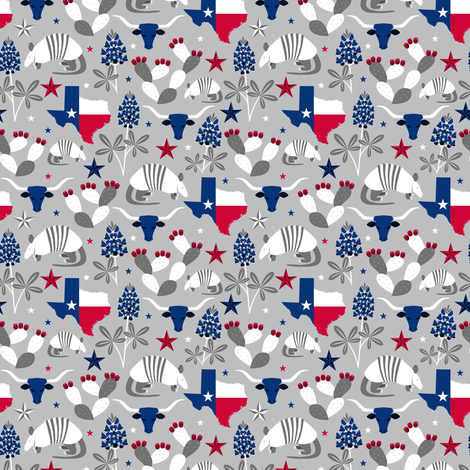 Symbols of Texas (Silver Extra Small) fabric by robyriker on Spoonflower - custom fabric