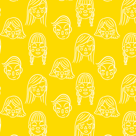 Face the Day in Yellow fabric by house_designer on Spoonflower - custom fabric