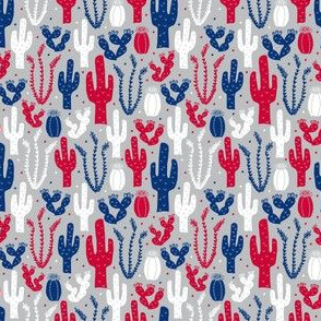 Arizona Backyard (Red, White and Blue on Silver Extra Small)