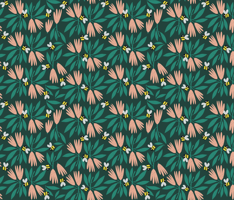 Flowers and bees fabric by anda on Spoonflower - custom fabric