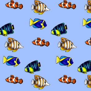 Fish in the Sea- Light Blue Background