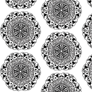 Native American Black White Mandala